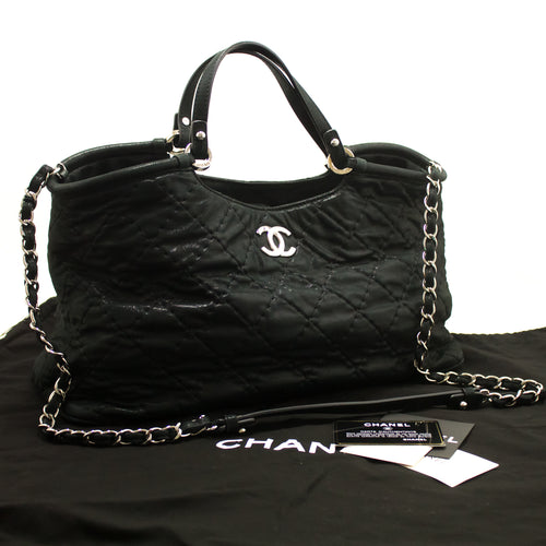 CHANEL 2 Way 2012 Chain Shoulder Bag Handbag Black Quilted Coated m85