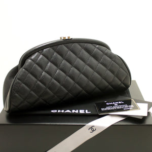 CHANEL Caviar Timeless Clutch Bag Black Quilted Silver Hw MINT n28