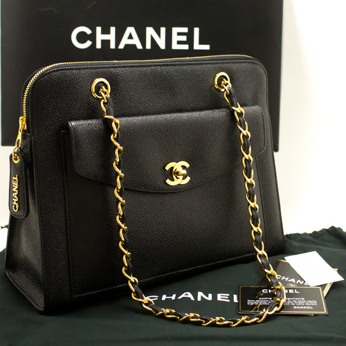6841c9ca818a CHANEL Caviar Large Chain Shoulder Bag Black Leather Gold Zip MINT n24- Chanel-hannari