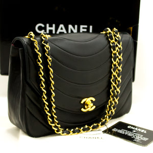 CHANEL Half Moon Single Flap Chain Shoulder Bag Black Quilted Lamb n21