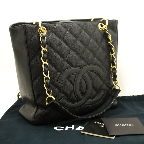 CHANEL Caviar PST Chain Shoulder Bag Shopping Tote Black Quilted m97