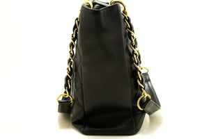 CHANEL Caviar PST Chain Shoulder Bag Shopping Tote Black Quilted m97-Chanel-hannari-shop