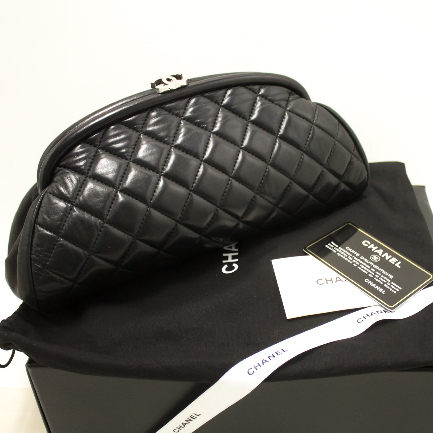 4b9098a3a0aa9e ... CHANEL Lambskin Timeless Clutch Bag Black Quilted Leather Silver n48- Chanel-hannari-shop ...