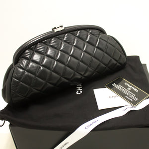CHANEL Lambskin Timeless Clutch Bag Black Quilted Leather Silver n48