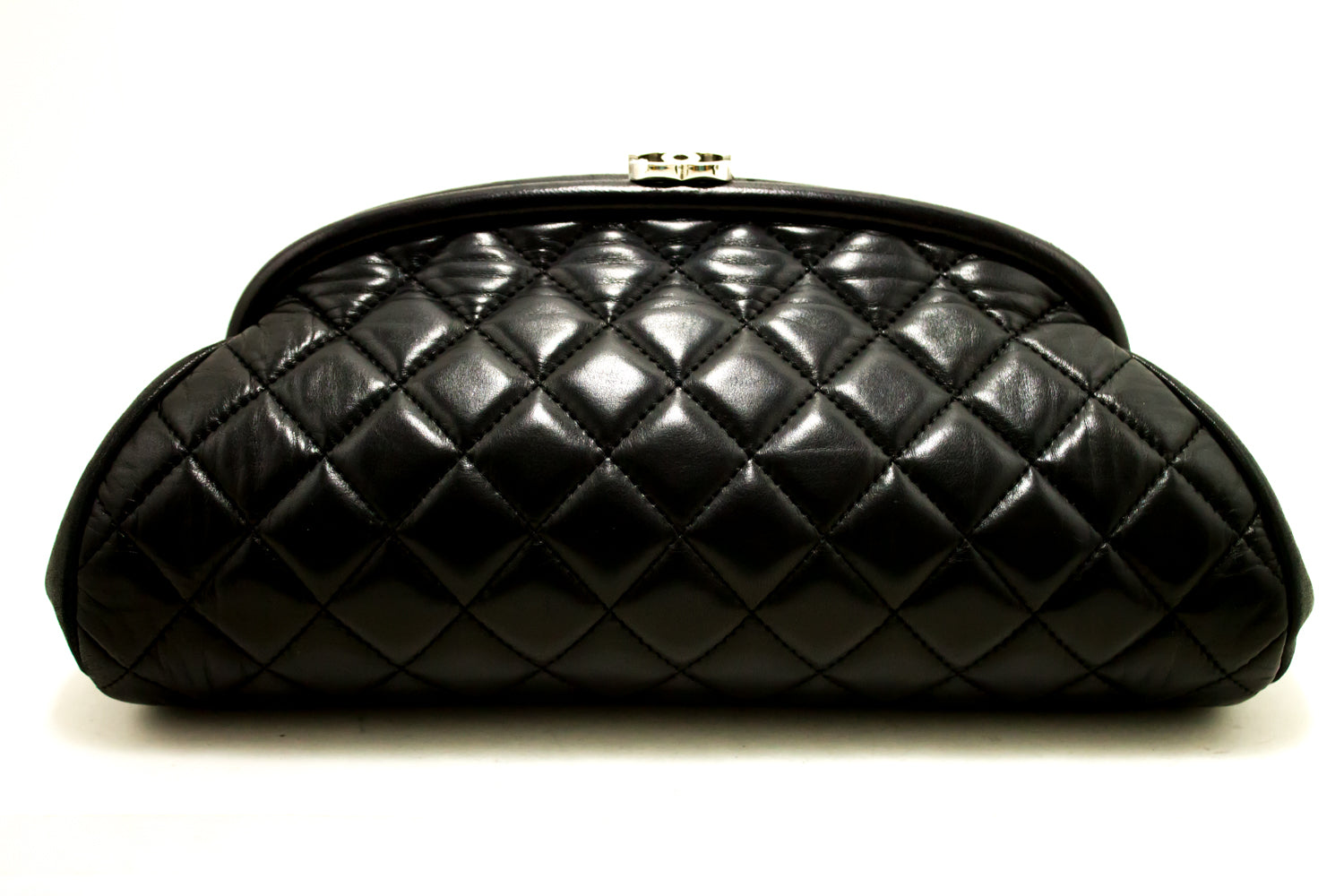 5a669ef821ff ... CHANEL Lambskin Timeless Clutch Bag Black Quilted Leather Silver n48- Chanel-hannari-shop ...