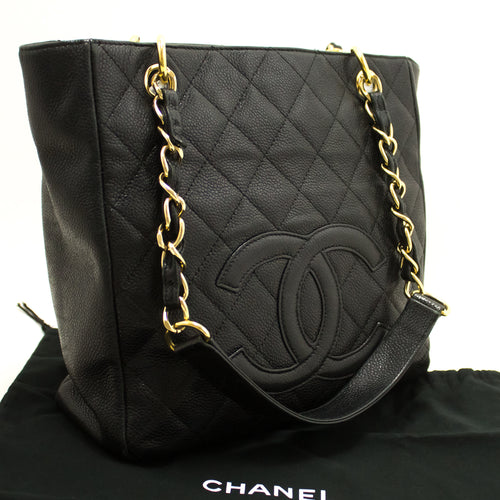 CHANEL Caviar PST Chain Shoulder Bag Shopping Tote Black Quilted n13