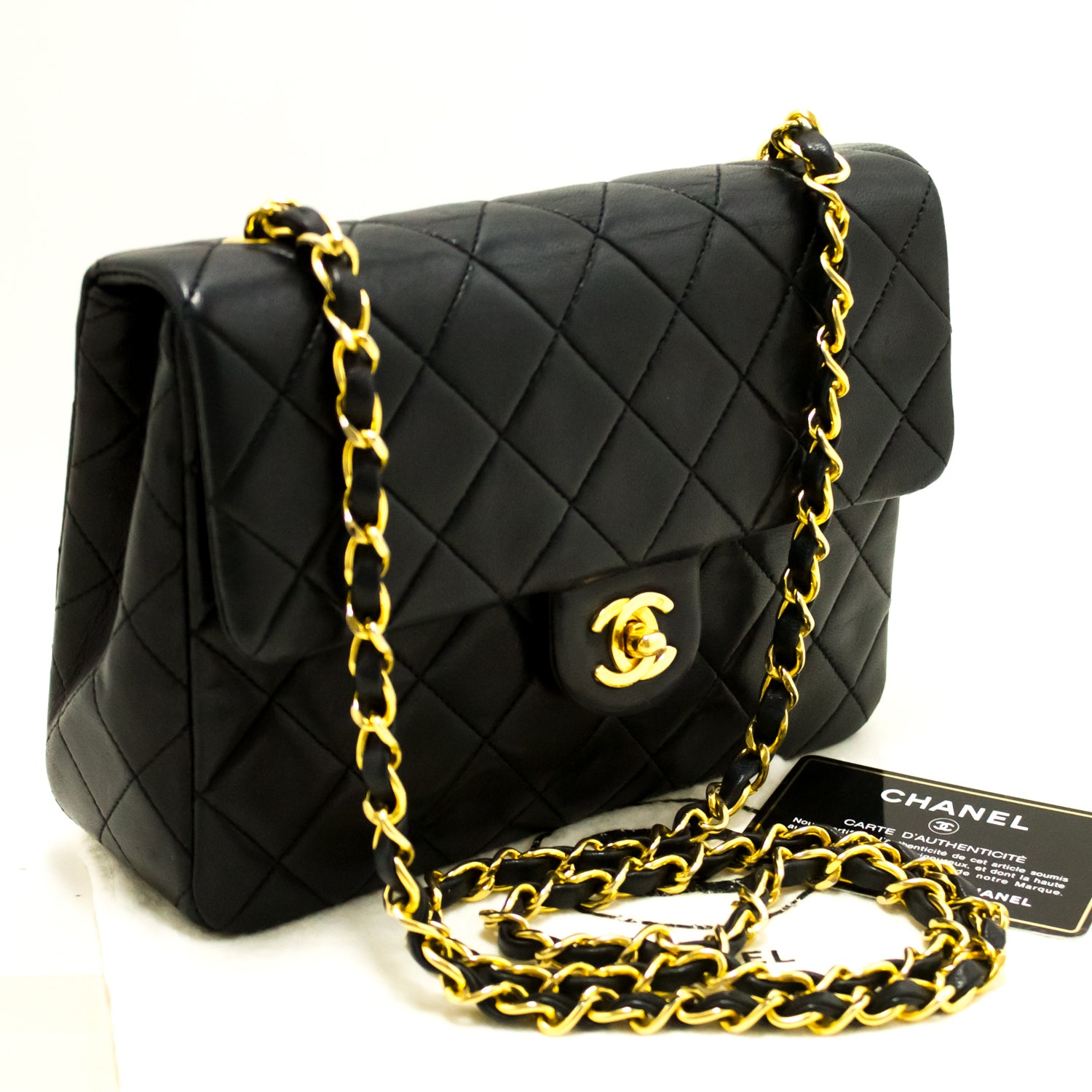 ... CHANEL Classic Mini Flap Chain Shoulder Bag Quilted Square Black n63 ... 0eb5191c69e8a
