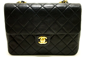 CHANEL Classic Mini Flap Chain Shoulder Bag Quilted Square Black n63