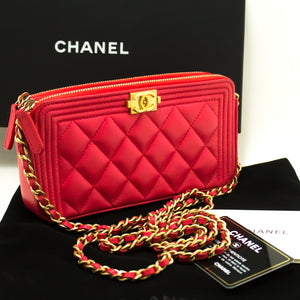 CHANEL Boy Hot Pink Wallet On Chain WOC W Zip Chain Shoulder Bag n53