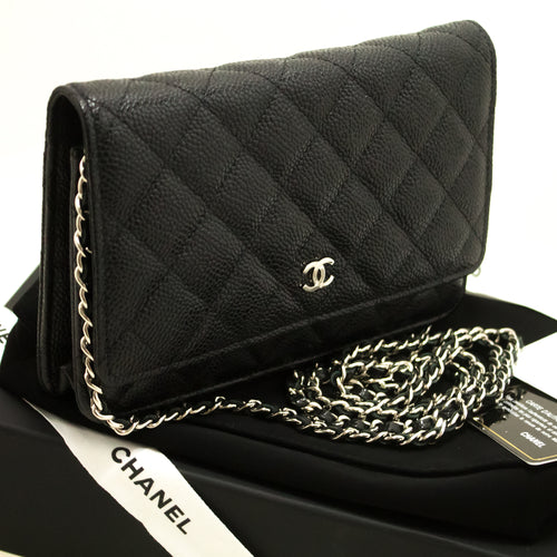 CHANEL Caviar Wallet On Chain WOC Black Shoulder Bag Crossbody n67