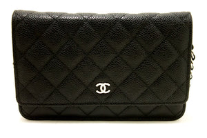 CHANEL Caviar Wallet On Chain WOC Black Shoulder Bag Crossbody n67-Chanel-hannari-shop