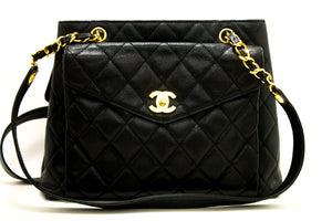 CHANEL Caviar Quilted Chain Shoulder Bag Black Leather Gold Zipper n23-Chanel-hannari-shop