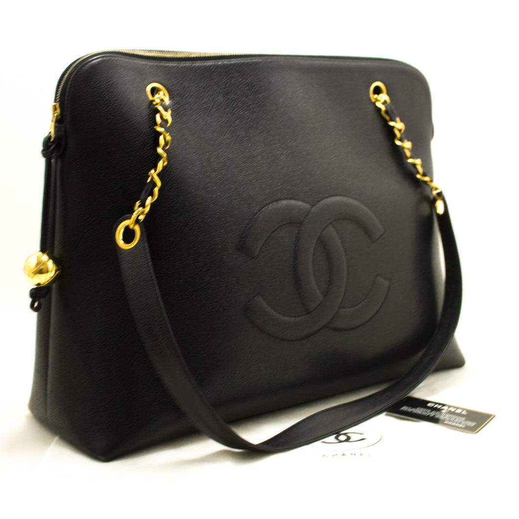 CHANEL Caviar Jumbo Large Chain Shoulder Bag Black Gold Zip n35