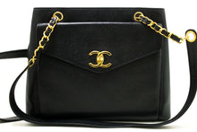 CHANEL Caviar Large Chain Shoulder Bag Black Leather Gold Hardware n80