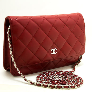 CHANEL წითელი საფულე ჯაჭვის WOC Shoulder Bag Crossbow Clutch Lamb n74-Chanel-hannari-shop