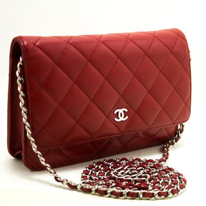 CHANEL Red Wallet On Chain WOC Shoulder Bag Cross Clutch Lamb n74-Chanel-hannari-shop