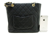 CHANEL Caviar PST Chain Shoulder Bag Shopping Tote Black Quilted n79