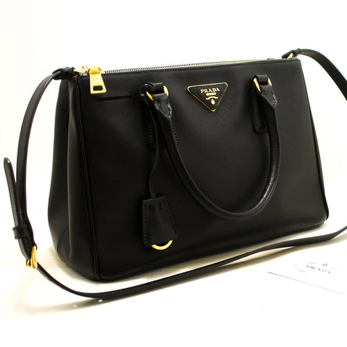 PRADA Saffiano Lux 2 Way Handbag Shoulder Bag Black Leather Gold n77-Prada-hannari-shop