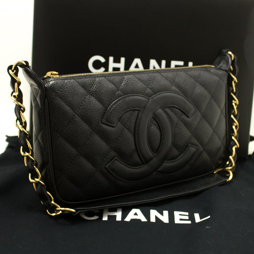 CHANEL Caviar Mini Small Chain One Shoulder Bag Black Quilted n71