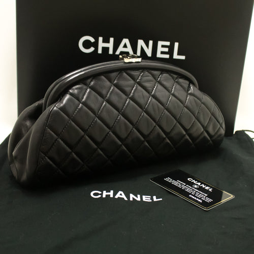 CHANEL Lambskin Timeless Clutch Bag Black Quilted Leather Silver m60