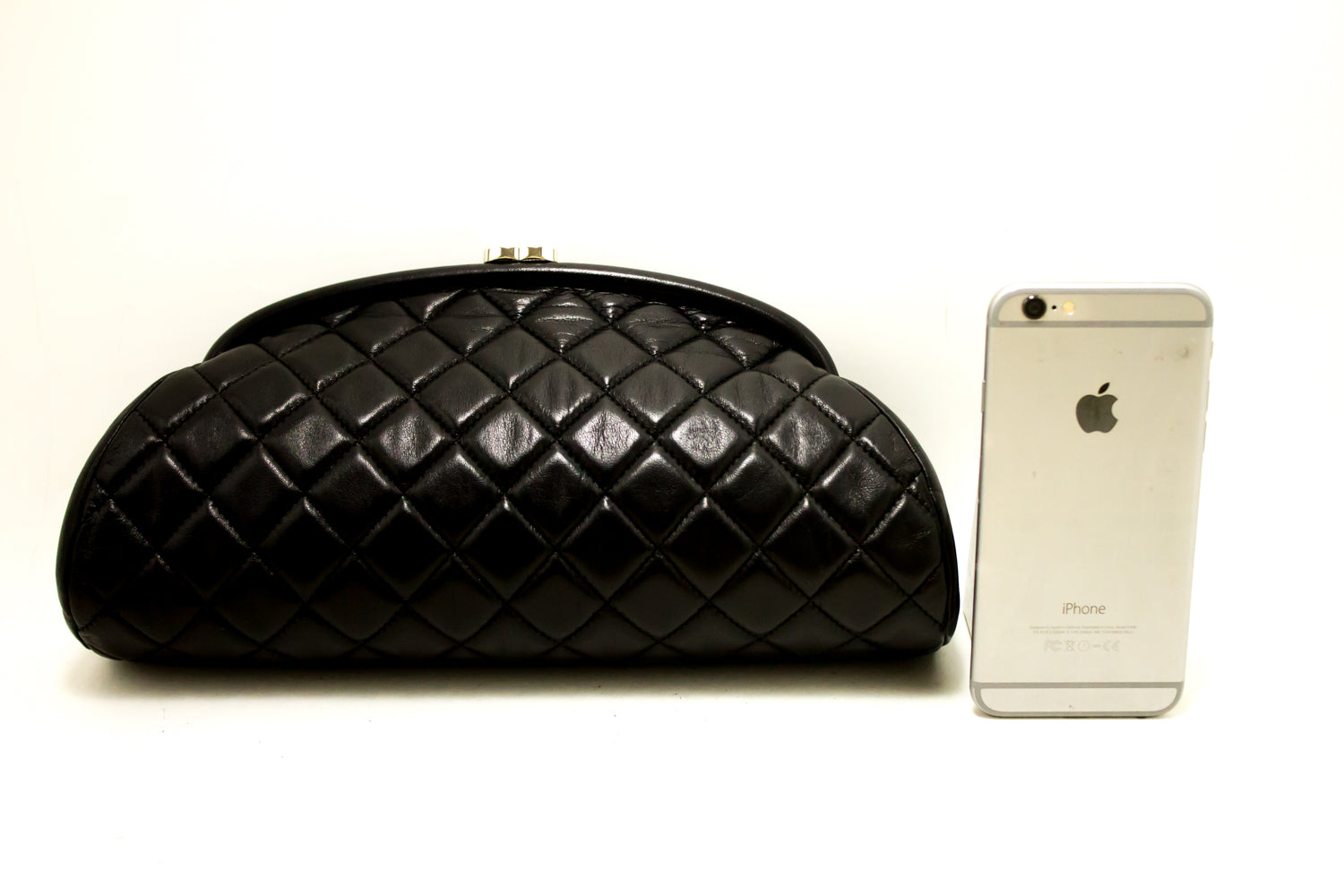 e4e92c7bc3fd ... CHANEL Lambskin Timeless Clutch Bag Black Quilted Leather Silver m60- Chanel-hannari-shop ...