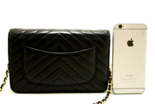 CHANEL V-Stitch Black Wallet On Chain WOC Shoulder Bag Crossbody n68-Chanel-hannari-shop