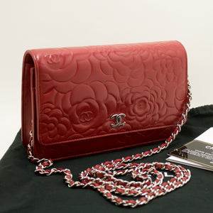 CHANEL Red Camellia Wallet On Chain WOC Shoulder Bag Crossbody n69