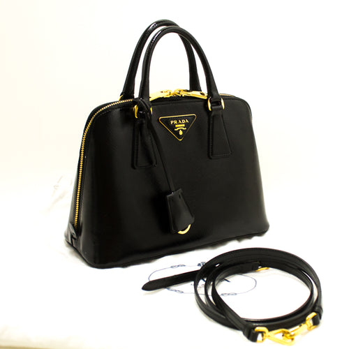 PRADA Saffiano 2 Way Handbag Shoulder Bag Black Leather Gold Zip n55