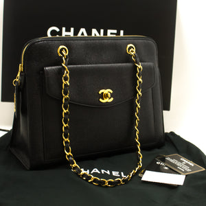 ffa9409a74ae CHANEL Caviar Large Chain Shoulder Bag Black Leather Gold Hardware p01- Chanel-hannari-