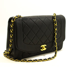 CHANEL Diana Flap Chain Shoulder Bag Crossbody Black Quilted Lamb p08