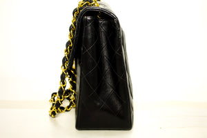 "CHANEL Jumbo 13"" Maxi 2.55 Flap Chain Shoulder Bag Black Lambskin p07"