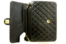 CHANEL Chain Shoulder Bag Clutch Black Quilted Flap Lambskin Q21-Chanel-hannari-shop