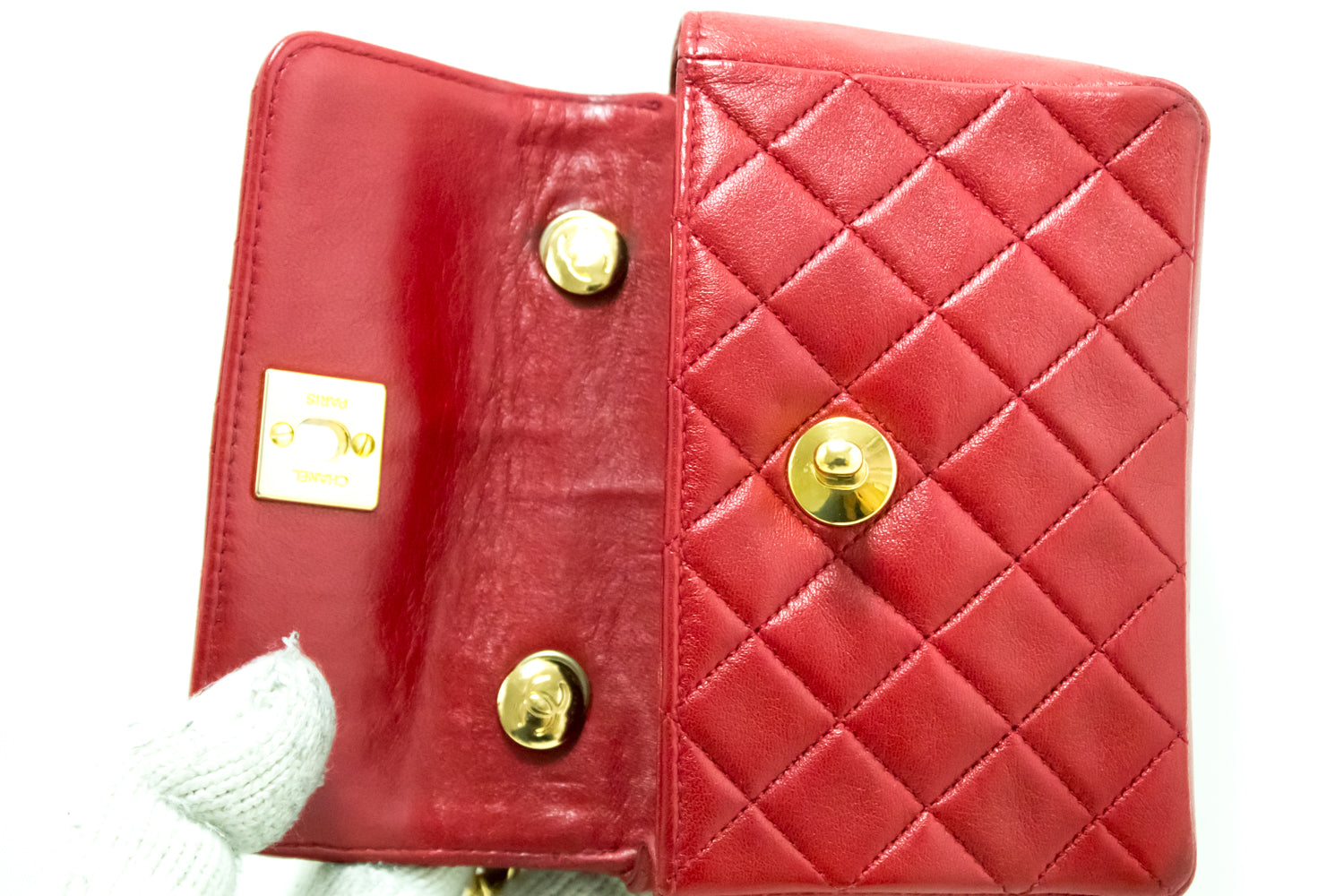 43df801e5a3a ... CHANEL Red Mini Very Small Chain Shoulder Bag Crossbody Quilted Q93 ...