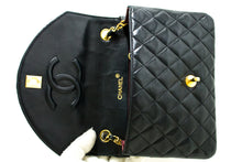 CHANEL Half Moon Chain Shoulder Bag Crossbody Black Quilted Flap Q25