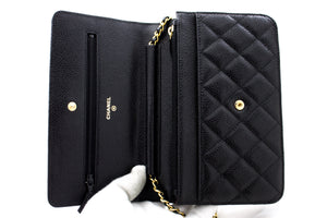 CHANEL Caviar Wallet On Chain WOC Black Shoulder Bag Crossbody u96 hannari-shop