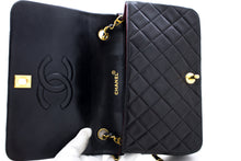 CHANEL Chain Shoulder Bag Crossbody Black Quilted Flap Lambskin t99-hannari-shop
