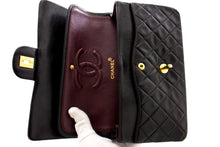 "CHANEL 2.55 Double Flap 10 ""ķēdes plecu soma Black Lambskin z50 hannari-shop"