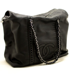 CHANEL Luxury Line Large Shoulder Bag Tote Black Silver Lambskin j68