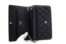 CHANEL Caviar Wallet On Chain WOC Black Shoulder Bag Crossbody t77-hannari-shop