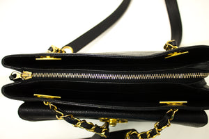 CHANEL Caviar Large Chain Shoulder Bag Black Leather Gold Zipper n05-Chanel-hannari-shop