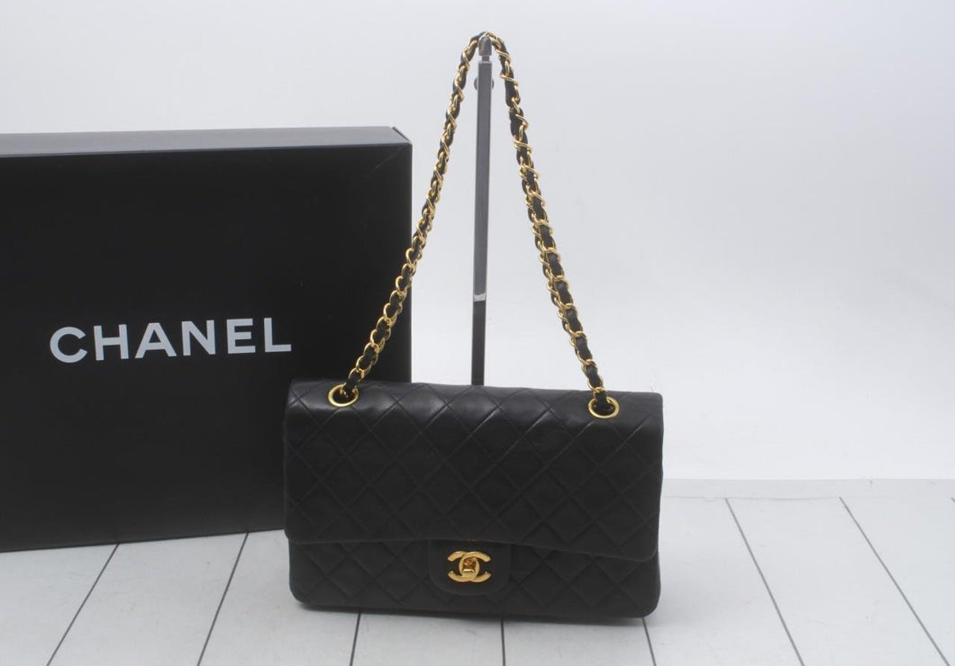 CHANEL Double Flap Black Gold CC b83
