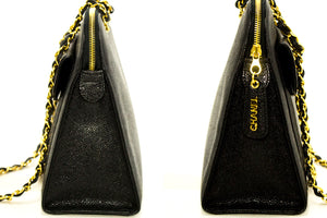 CHANEL Caviar Large Chain Shoulder Bag Black Leather Gold Hardware p01-Chanel-hannari-shop