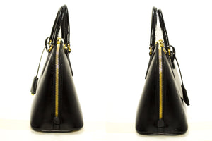 PRADA Saffiano 2 Way Handbag Shoulder Bag Black Leather Gold Zip n55-Prada-hannari-shop