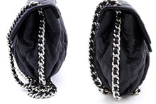 CHANEL Chain Around Shoulder Bag Crossbody Black Calfskin Leather u76 hannari-shop