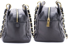 CHANEL Caviar Chain Shoulder Bag Shopping Tote Black Quilted Gold d46 hannari-shop