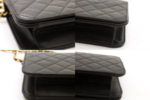 CHANEL Borsa a spalla in catena Clutch Black Flap Quilted Lambskin Purse t63-hannari-shop