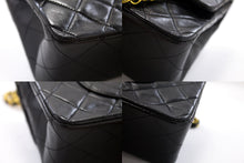 "CHANEL 2.55 Double Flap 10"" Chain Shoulder Bag Black Lambskin s62"