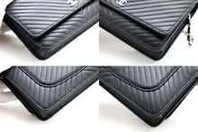 CHANEL V-Stitch Caviar Wallet On Chain WOC Schwarze Umhängetasche b16 hannari-shop