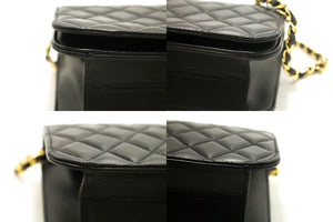 CHANEL Chain Shoulder Bag Clutch Black Quilted Flap Lambskin p16