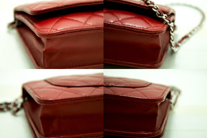 CHANEL Red Wallet On Chain WOC Shoulder Bag Crossbody Clutch Lamb n74-Chanel-hannari-shop
